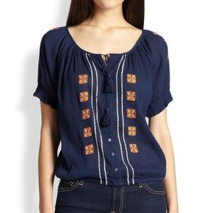 Joie Dolina D Embroidered Cotton Blouse navy XS